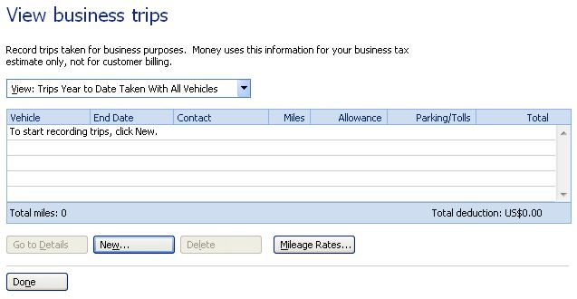 Microsoft Home and Business mileage tracking
