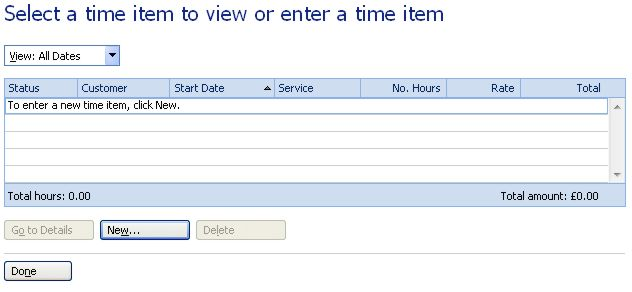 Microsoft Money Home and Business time item