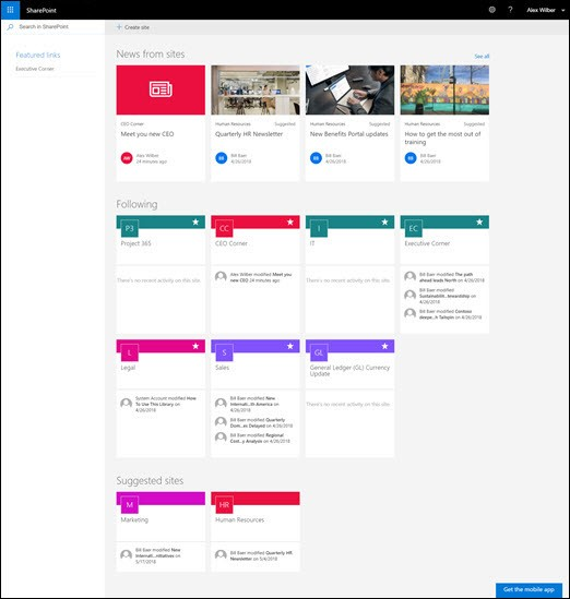 SharePoint home page