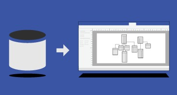 Database icon, arrow, Visio diagram representating the database